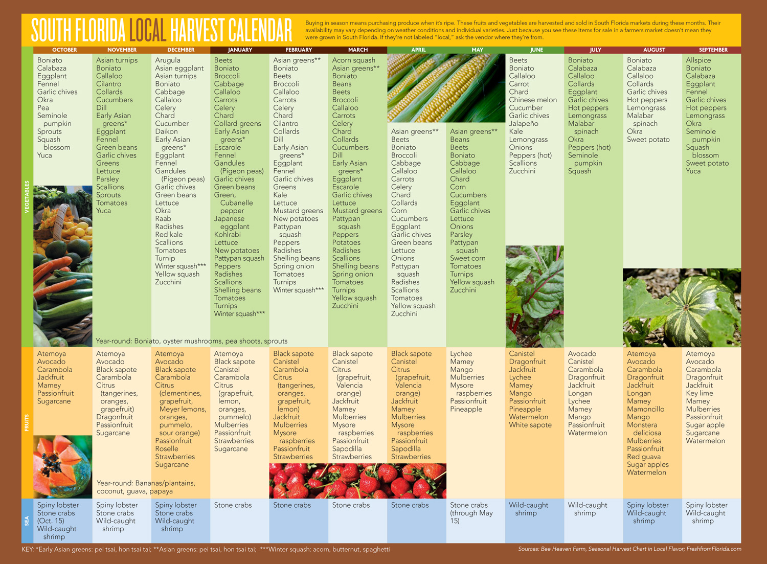 South Florida Local Harvest Calendar